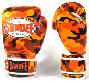 Sandee Authentic Kids Velcro Camo Orange/White Synthetic Leather Boxing Glove
