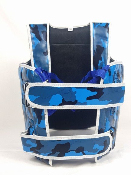 Sandee Camo Kids Blue & White Synthetic Leather Authentic Body Shield