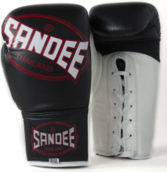 Sandee Cool-Tec Lace Up Pro Fight Black, White & Red Leather Boxing Glove