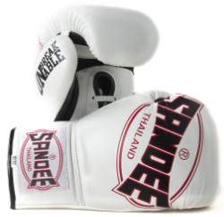Sandee Cool-Tec Lace Up Pro Fight White, Black & Red Leather Boxing Glove