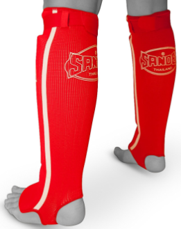 Sandee Red/White Cotton Slip-on Competition Shinguard