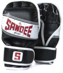 Sandee Sport Black/White/Red Synthetic Leather MMA Sparring Glove