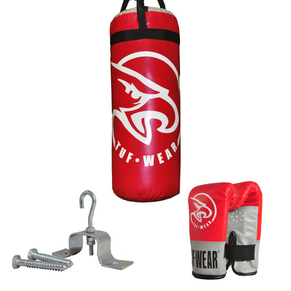 Tuf Wear Junior 2ft Punchbag Kit with Gloves, Red/Grey