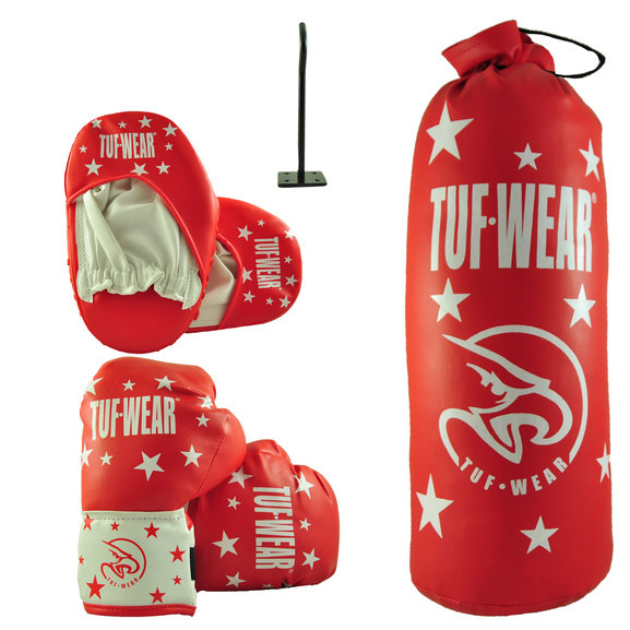 Tuf Wear Kids Junior Boxing Set, Red