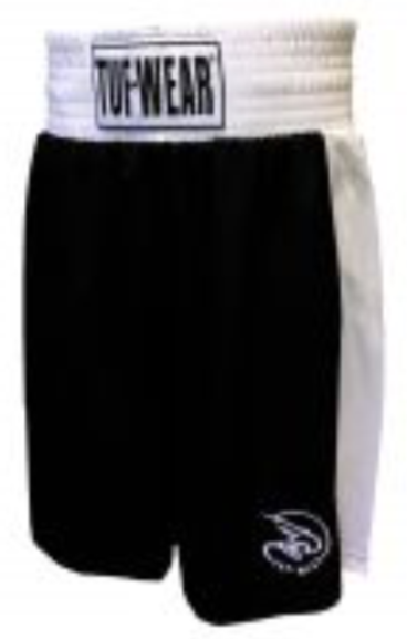Tuf Wear Kids Junior Club Boxing Shorts, Black/White