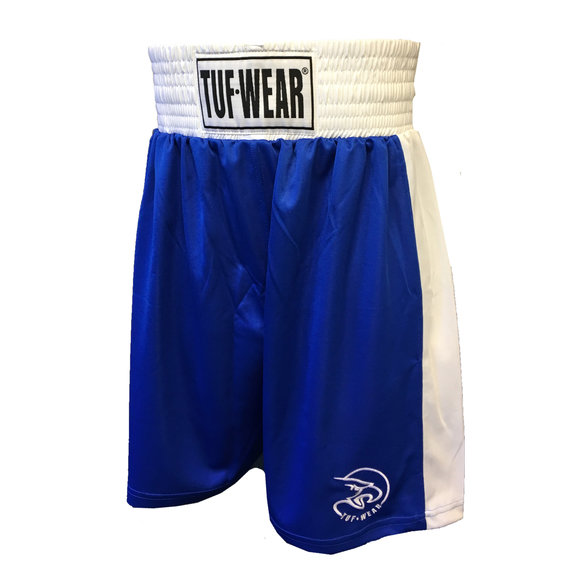 Buy the Tuf Wear Kids Junior Club Boxing Shorts, Blue/White online at Fight Outlet