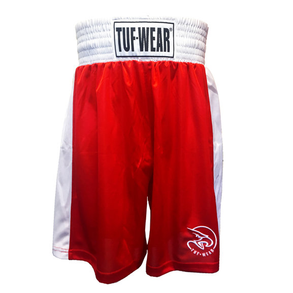 Buy the Tuf Wear Kids Junior Club Boxing Shorts, Red/White online at Fight Outlet
