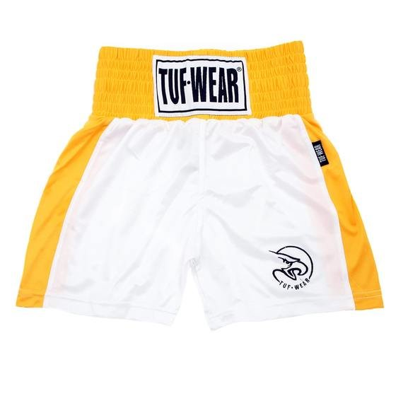 Tuf Wear Kids Junior Club Boxing Shorts, White/Gold