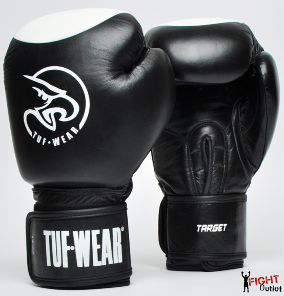 Buy the Tuf Wear Target Leather Safety Spar Boxing Gloves Black/white online at Fight Outlet