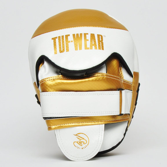 Tuf Wear Victor Gel Curved Hook and Jab Pad, White/Gold