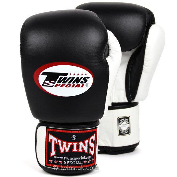 BGVL-3T Twins Special 2-Tone Black-White Muay Thai Velcro Boxing Gloves