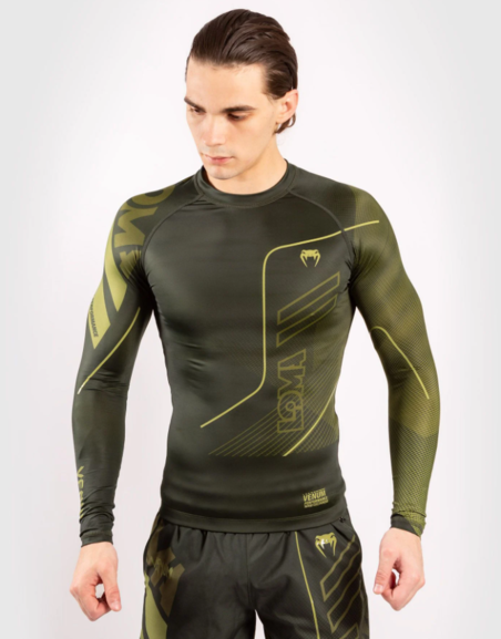 Buy the VENUM LOMA COMMANDO LONG SLEEVE RASHGUARD - KHAKI online at Fight Outlet