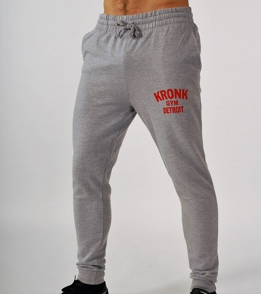 KRONK Gym Detroit tapered leg, track pant Joggers Heather Grey