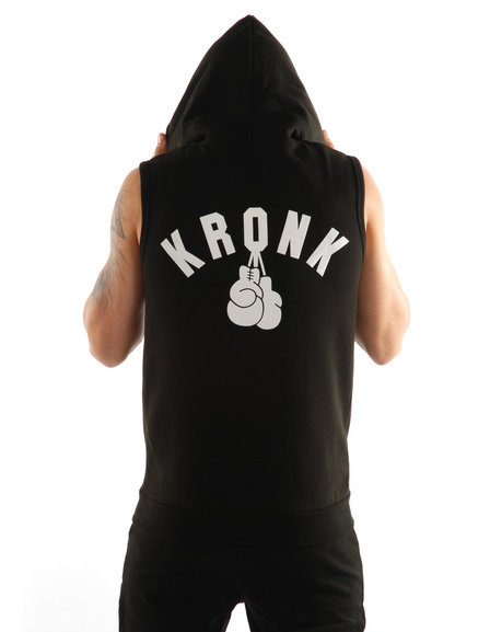 Kronk One Colour Gloves Sleeveless Zip Hoodie,  Black/White