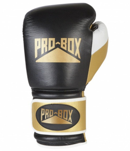 Pro Box Black Gold Leather 'PRO-SPAR' Boxing Gloves