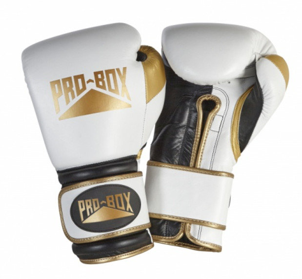 Pro Box White Gold Leather 'PRO-SPAR'Boxing Gloves