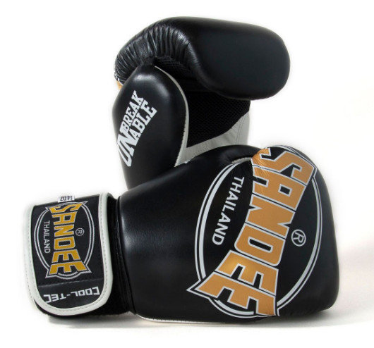 Sandee Cool-Tec Velcro 3 Tone Synthetic Leather Kids Boxing Gloves Black/Gold/White