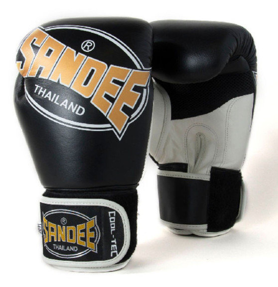 Sandee Cool-Tec Leather Gloves Black/Gold/White