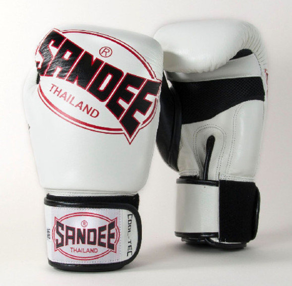 Sandee Cool-Tec Leather Boxing Gloves White/Black/Red