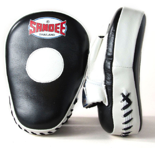 Sandee Curved Focus Mitts, Leather - Black/White