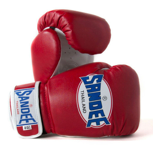 Sandee Kids Velcro 2 Tone Boxing Gloves Red/White Synthetic Leather
