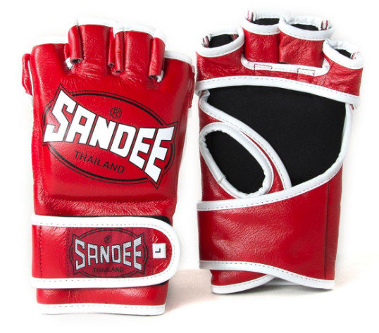 Sandee MMA Fight Gloves - Leather Red/White