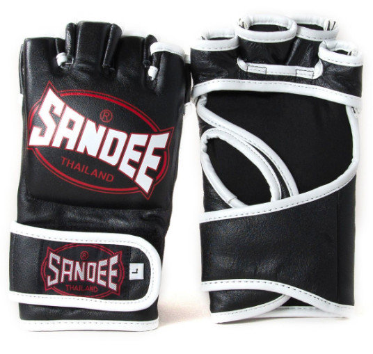 Sandee MMA Fight Gloves -Leather, Black/White