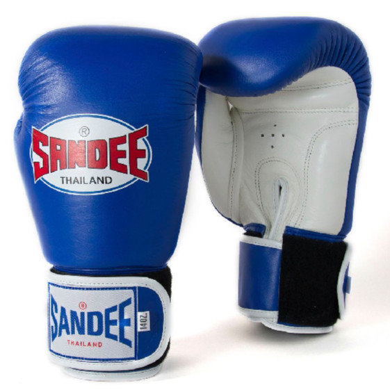 Sandee Velcro 2 Tone Boxing Gloves Leather - Blue/White