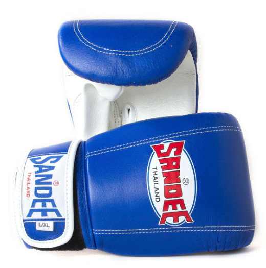 Buy the Sandee Velcro Bag Gloves Leather - Blue/White online at Fight Outlet