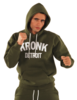 KRONK Detroit Applique Hoodie Regular Fit Military Green with White logo Thumbnail