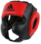 View the Adidas Pro Leather Headguard, Black Red online at Fight Outlet