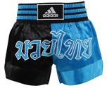 View the Adidas Thai Boxing Shorts Large Print - Black/Blue online at Fight Outlet