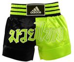 View the Adidas Thai Boxing Shorts Large Print - Black/Green online at Fight Outlet