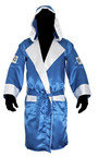 View the Cleto Reyes Hooded Boxing Robe Blue/White online at Fight Outlet
