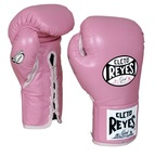 View the Cleto Reyes Leather Safetec Gloves Pink online at Fight Outlet