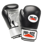 View the Pro Box 'BLACK & SILVER' Leather/PU Training Gloves 12oz only online at Fight Outlet