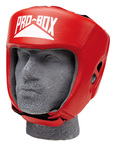 View the Pro Box Leather 'CLUB ESSENTIALS' Collection Red Headguard online at Fight Outlet