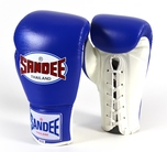 Sandee Authentic Lace Up Pro Fight Boxing Gloves Leather- Blue/White
