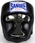 View the Sandee Closed Face Leather Head Guard - Black online at Fight Outlet