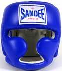 View the Sandee Closed Face Leather Head Guard - Blue online at Fight Outlet