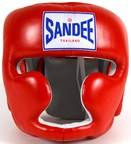 View the Sandee Closed Face Leather Head Guard Red online at Fight Outlet