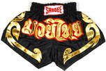 View the Sandee Conquest Satin Thai Boxing Shorts - Black/Gold  online at Fight Outlet