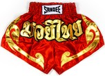 View the Sandee Conquest Satin Thai Boxing Shorts - Red/Gold online at Fight Outlet