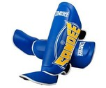 View the Sandee Cool-Tec Boot Shin Guards Leather Blue/Yellow/White online at Fight Outlet