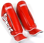 View the Sandee Cool-Tec Boot Shin Guards Leather Red/White/Black online at Fight Outlet