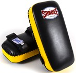 View the Sandee Extra Thick Thai Kick Pads Leather Black/Yellow online at Fight Outlet