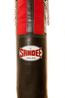 View the Sandee Half Leather Punch Bag Black & Red 5ft and 6ft online at Fight Outlet