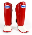 View the Sandee Kids Boot Shin Guards - Synthetic Leather- Red/White online at Fight Outlet
