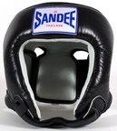 View the Sandee Open Face Head Guard Leather Black/White online at Fight Outlet