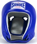 View the Sandee Open Face Head Guard Leather Blue/White  online at Fight Outlet